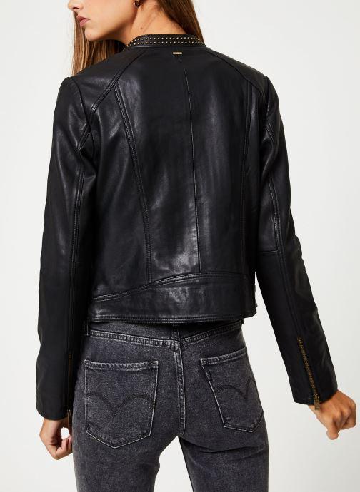 Vêtements IKKS Women Blouson Cuir Noir BP48055 Noir vue portées chaussures