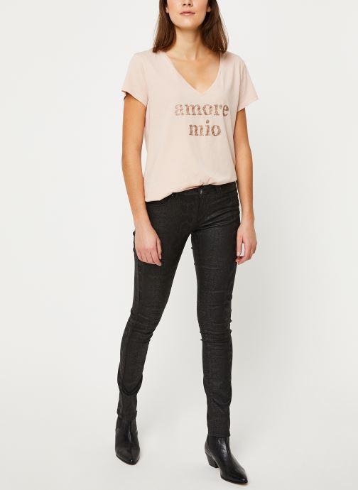 Vêtements IKKS Women Tee-Shirt Amore Moi BP10625 Beige vue bas / vue portée sac