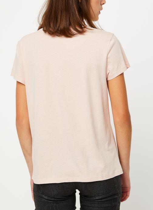 Vêtements IKKS Women Tee-Shirt Amore Moi BP10625 Beige vue portées chaussures