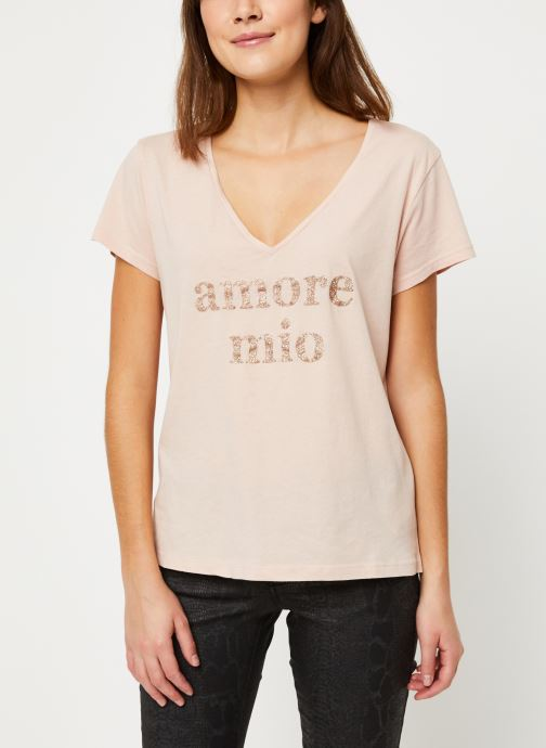 Vêtements IKKS Women Tee-Shirt Amore Moi BP10625 Beige vue droite