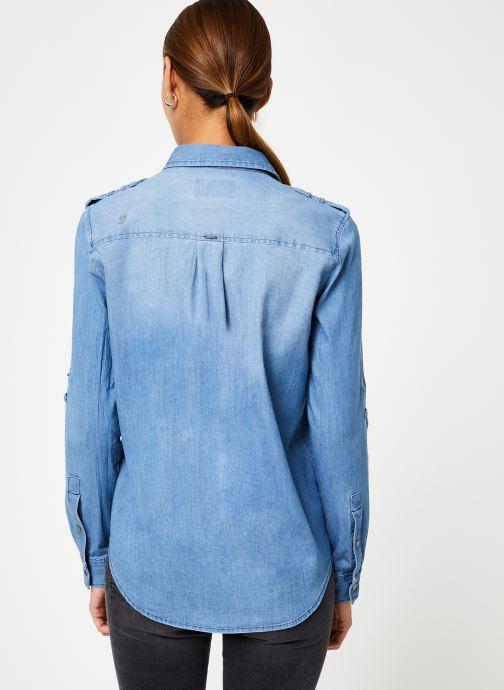 Vêtements IKKS Women Chemise Denim BP12345 Bleu vue portées chaussures