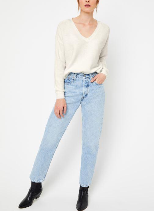 Vêtements Yuka PULL V MATIAS Blanc vue bas / vue portée sac