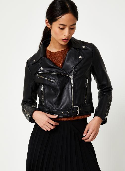 Kleding Vila Viwillas Leather Jacket Zwart detail