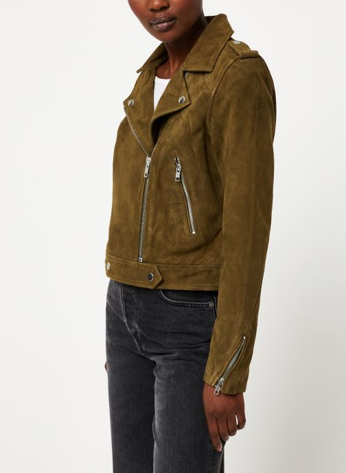 Vêtements Vila Vigwen Suede Biker Jacket Vert vue droite
