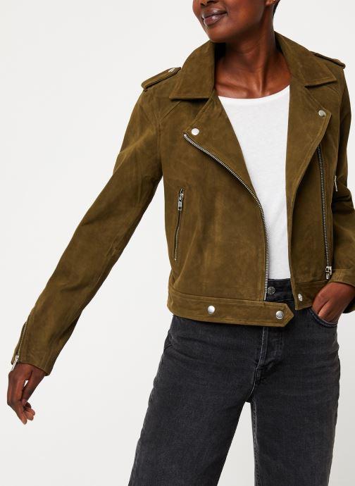 Vêtements Vila Vigwen Suede Biker Jacket Vert vue détail/paire
