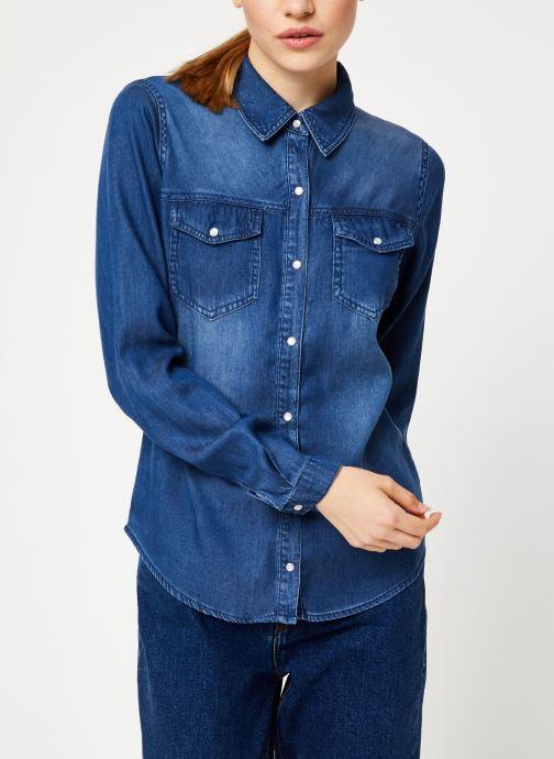 Tøj Vila Vibista Denim Shirt Blå detaljeret billede af skoene