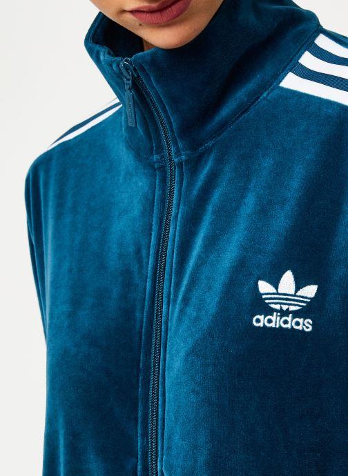 Vêtements adidas originals Velvet Tracktop Bleu vue face