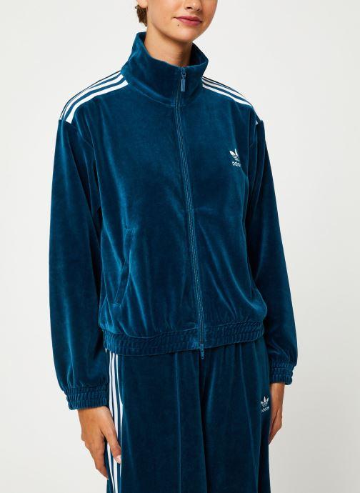 Vêtements adidas originals Velvet Tracktop Bleu vue droite