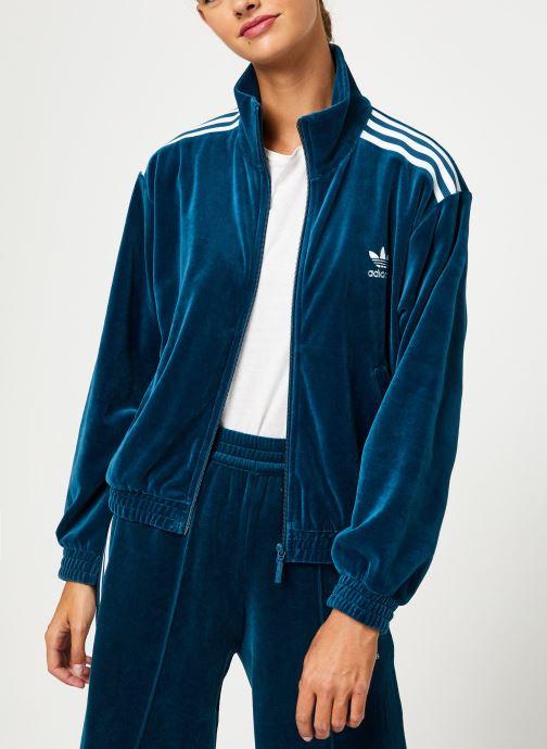 Vêtements adidas originals Velvet Tracktop Bleu vue détail/paire