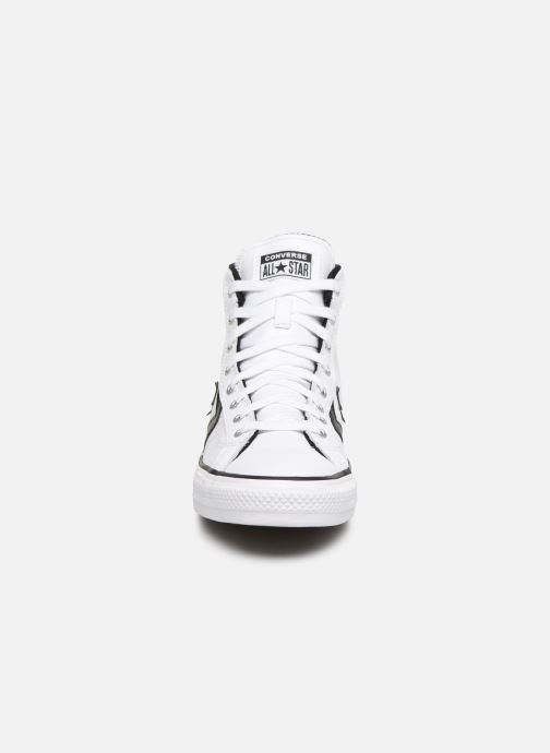 Baskets Converse Star Player Seasonal Color Leather Hi Blanc vue portées chaussures