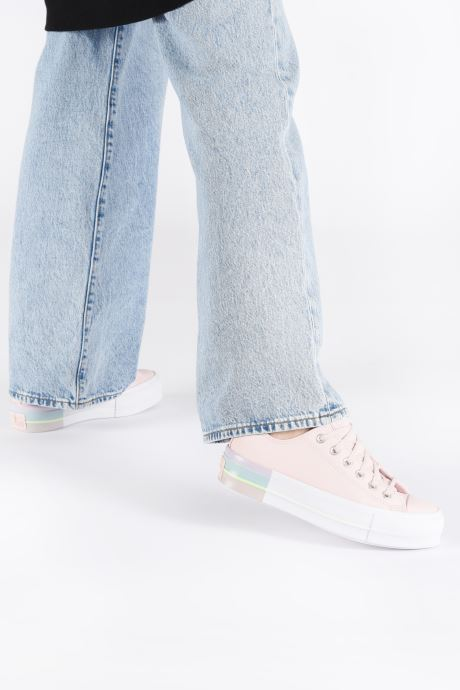 Trainers Converse Chuck Taylor All Star Lift Intergalactic Leather Ox Pink view from underneath / model view