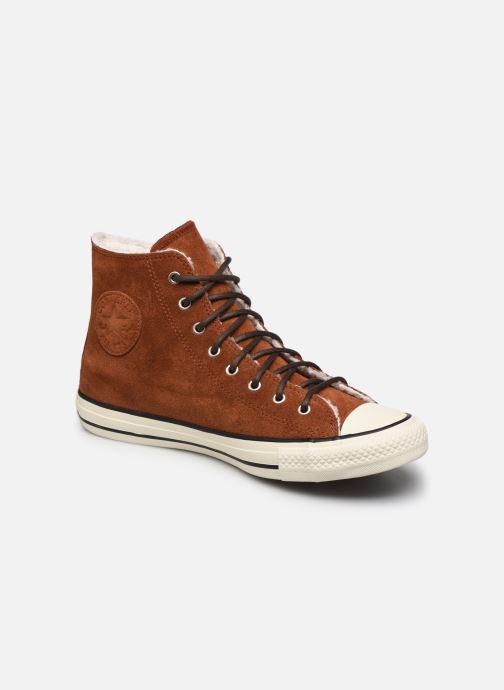 Baskets Converse Chuck Taylor All Star Suede/Sherpa Hi Marron vue détail/paire