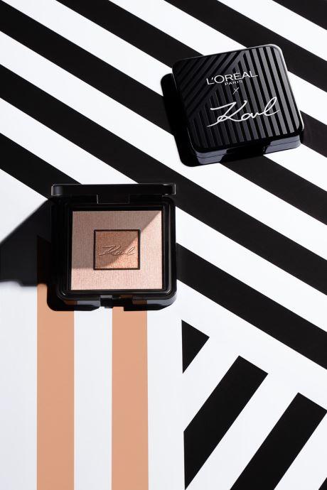 Onderhoudsproducten Karl Lagerfeld x L'Oréal Paris Enlumineur duo Beige links
