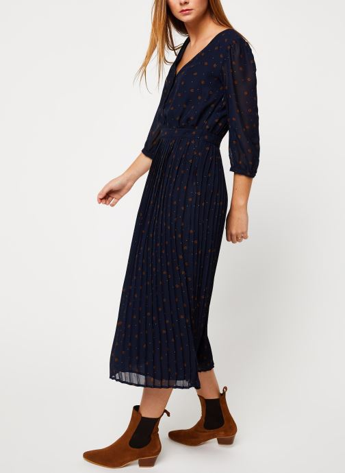 Vêtements Vila VIANNET FEUILLE 3/4 MIDI DRESS/L Bleu vue bas / vue portée sac