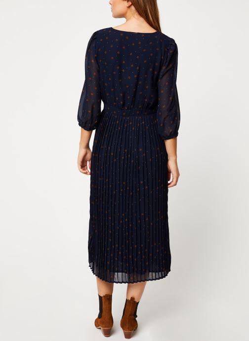Vêtements Vila VIANNET FEUILLE 3/4 MIDI DRESS/L Bleu vue portées chaussures