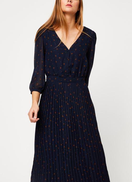 Vêtements Vila VIANNET FEUILLE 3/4 MIDI DRESS/L Bleu vue détail/paire