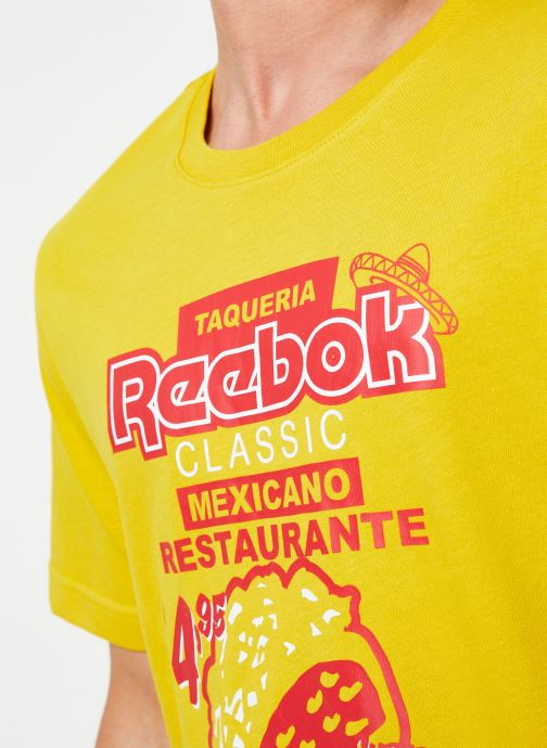 Vêtements Reebok Cl Itl Tacos Tee Jaune vue face