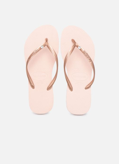 Tongs Havaianas HAV. SLIM CRYSTAL GLAMOUR SW Rose vue portées chaussures