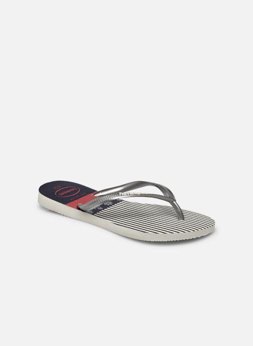 Tongs Havaianas HAV. SLIM NAUTICAL Argent vue portées chaussures