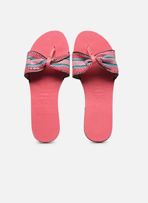 Tongs Havaianas HAV. YOU SAINT TROPEZ FITA Rose vue portées chaussures