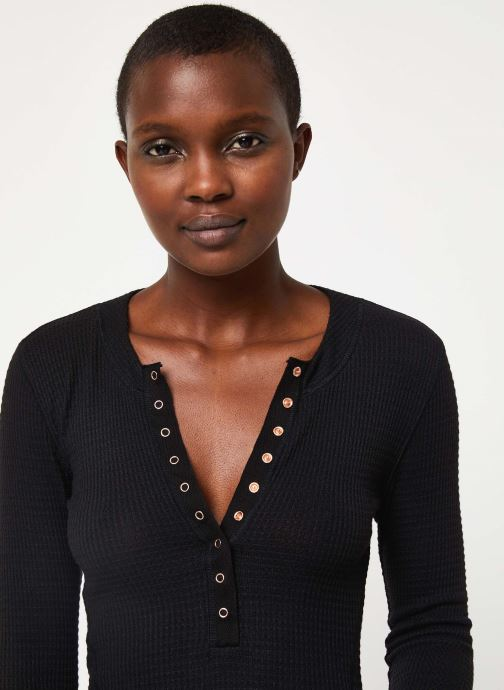 Vêtements Free People ONE OF THE GIRLS HENLEY Noir vue face