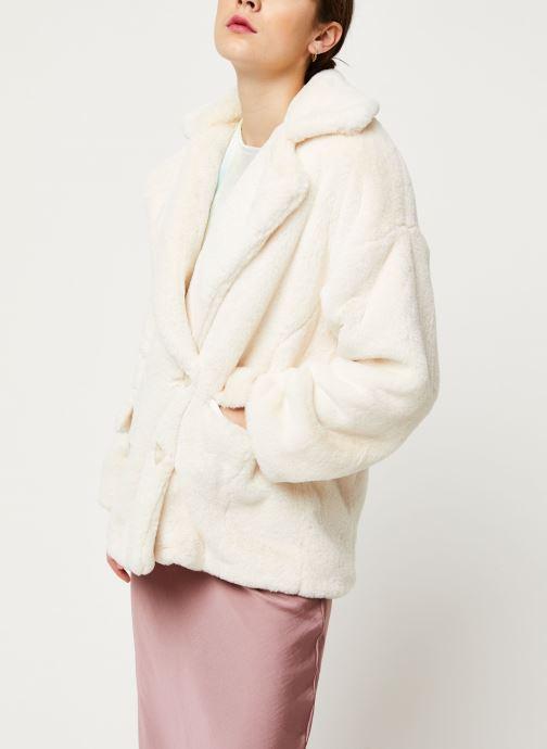 Vêtements Free People SOLID KATE FAUX FUR COAT Blanc vue droite