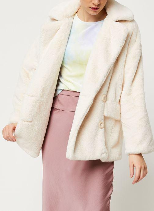 Vêtements Free People SOLID KATE FAUX FUR COAT Blanc vue détail/paire