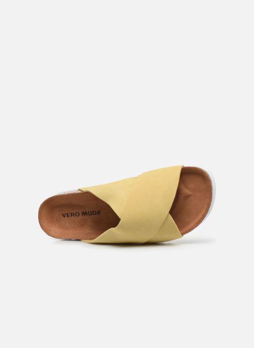 Zuecos Vero Moda Vmholly Leather Sandal Amarillo vista lateral izquierda
