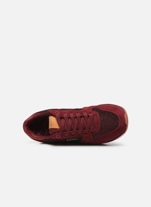 Trainers Pepe jeans Zion Lux Burgundy view from the left