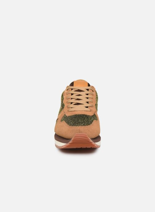 Trainers Pepe jeans Zion Lux Brown model view