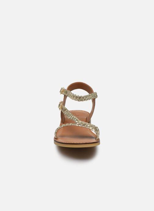 Sandali e scarpe aperte Adolie Lazar Bi Stripes Oro e bronzo modello indossato
