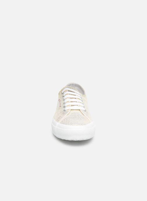 Sneakers Superga 2750 Jersey Frost Lame W Oro e bronzo modello indossato