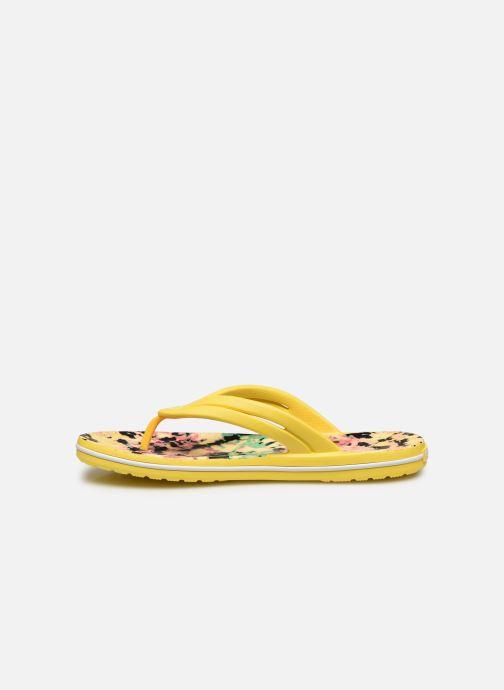 Chanclas Crocs Crocband Tie Dye Mania Flip W Amarillo vista de frente