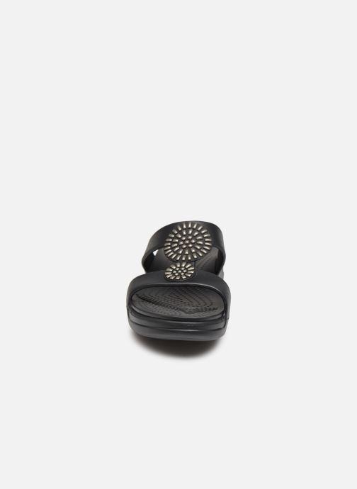 Zuecos Crocs Crocs Monterey Diamante Wedge W Negro vista del modelo