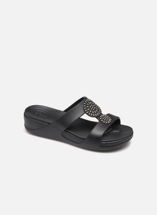 Zuecos Crocs Crocs Monterey Diamante Wedge W Negro vista de detalle / par
