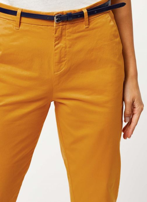 Vêtements Scotch & Soda Ams Blauw slim fit chino in stretch twill with belt Jaune vue face