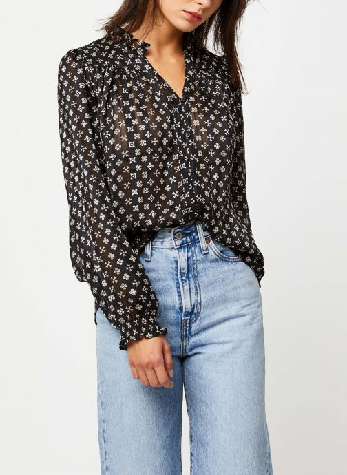 Chemise - Sheer ruffle top with allover prints