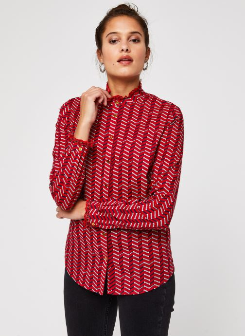 Vêtements Scotch & Soda Cotton allover printed shirt Rouge vue droite