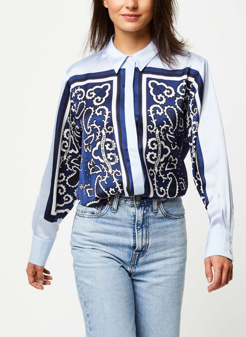 Button up silky shirt with placement bandana print
