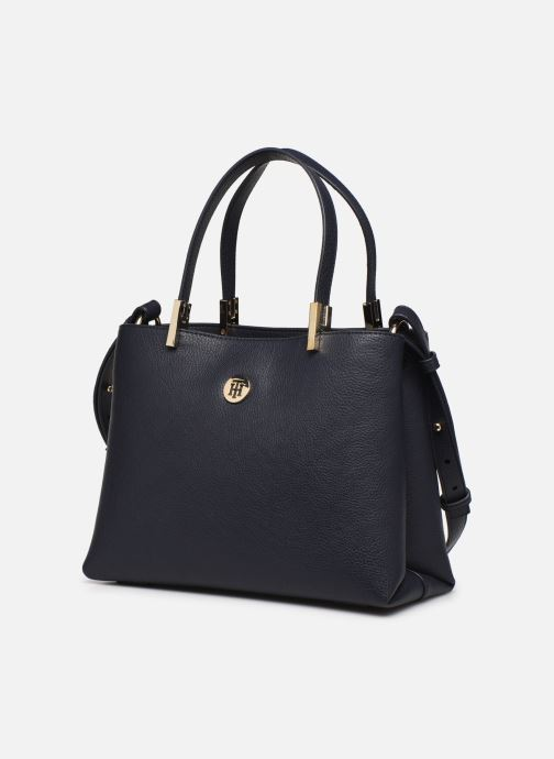 Handtaschen Tommy Hilfiger TH CORE MED SATCHEL blau schuhe getragen