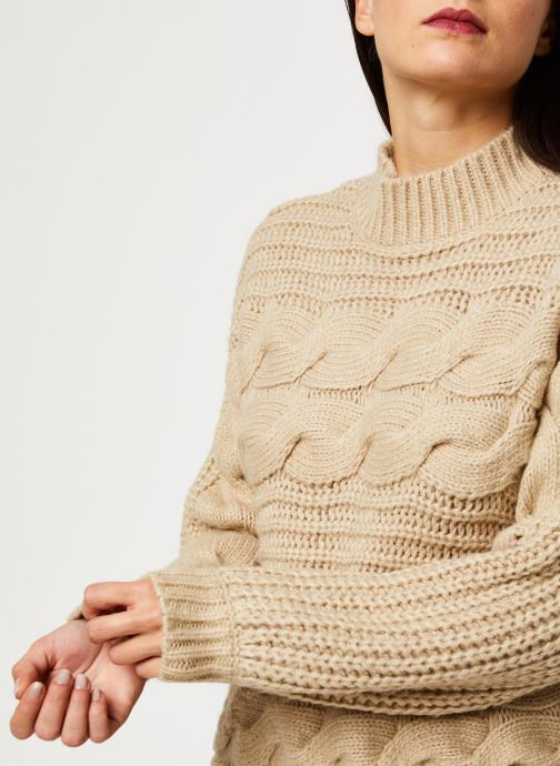 Vêtements Pieces Harper Ls Knit Beige vue face