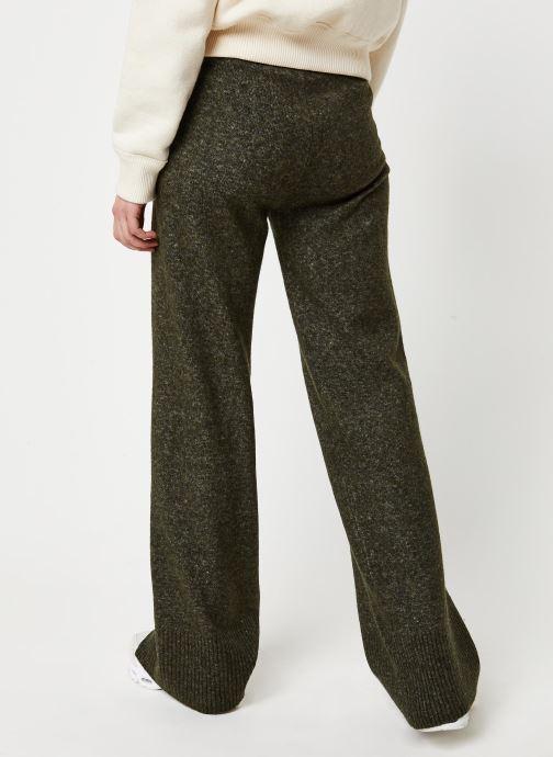 Vêtements Pieces Honey Wide Knit Pants Vert vue portées chaussures
