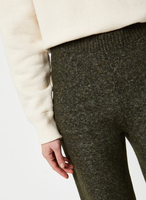 Vêtements Pieces Honey Wide Knit Pants Vert vue face