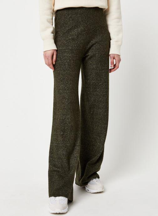 Vêtements Pieces Honey Wide Knit Pants Vert vue détail/paire