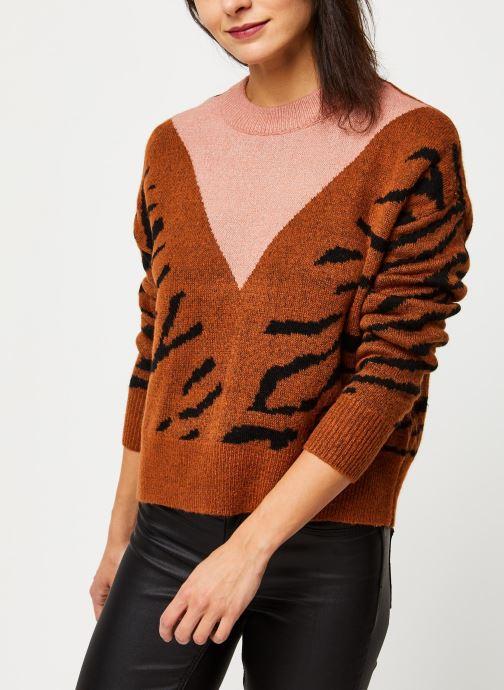 Vêtements Pieces Ibba Ls O Neck Knit Marron vue détail/paire