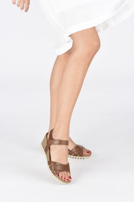 Sandales et nu-pieds Gabor MAIMA Marron vue bas / vue portée sac