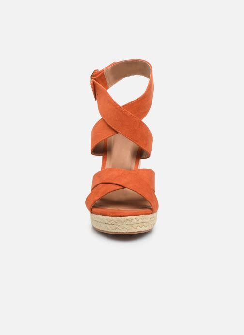Espadrilles ONLY ONLAMELIA WRAP HEELED SANDAL Marron vue portées chaussures