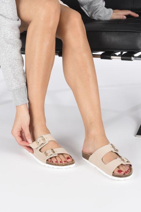 Clogs & Pantoletten ONLY ONLMADISON SUEDE SLIP ON beige ansicht von unten / tasche getragen
