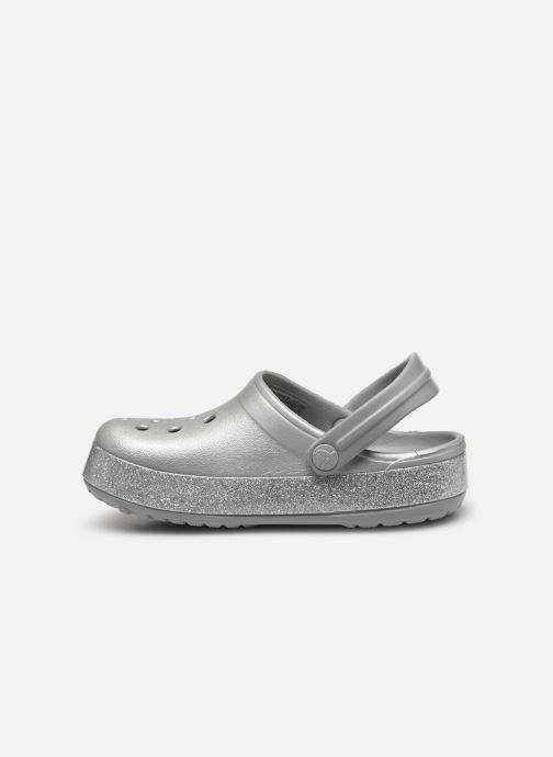 Sandalias Crocs Crocband Glitter Clog Kids Gris vista de frente
