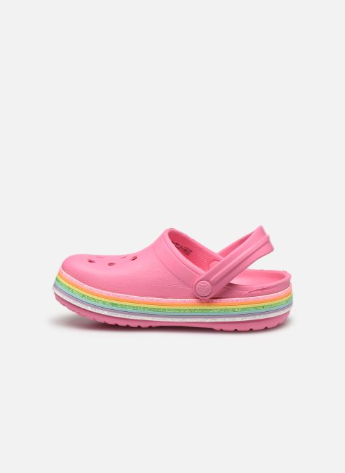 Sandalias Crocs Crocband Rainbow Glitter Kids Rosa vista de frente